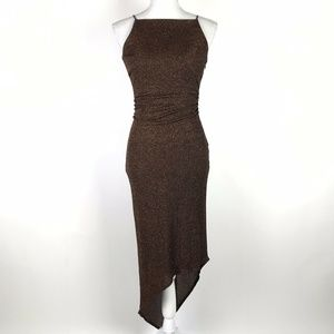 David Meister Asymmetrical Dress Black Bronze